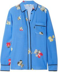 Ganni - Joycedale Floral-print Silk Crepe De Chine Shirt - Lyst