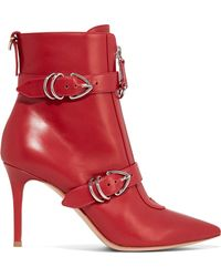 Gianvito Rossi - Buckle Detail Pointed Toe Leather Ankle Boots - Lyst