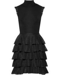 Alice + Olivia | Janice Tiered Ruffled Stretch-knit Mini Dress | Lyst
