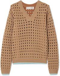 Victoria Beckham - Open-knit Wool-blend Sweater - Lyst