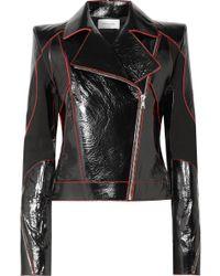 Mugler - Paneled Textured Patent-leather Biker Jacket - Lyst