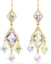 Marie-hélène De Taillac - 22-karat Gold, Quartz And Aquamarine Earrings - Lyst