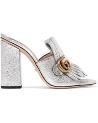 Gucci - Marmont Fringed Metallic Cracked-leather Mules - Lyst