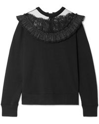 Marc Jacobs - Lace And Taffeta-trimmed Cotton-jersey Sweatshirt - Lyst