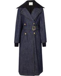 Tibi - Stretch Merino Wool-trimmed Denim Trench Coat - Lyst