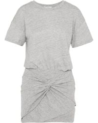 IRO - Brelbloa Knotted Cotton-blend Jersey Mini Dress - Lyst