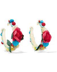 Ranjana Khan - Flora Raffia, Silk And Crystal Earrings - Lyst