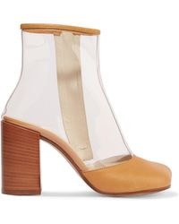 MM6 by Maison Martin Margiela - Leather-trimmed Pvc Ankle Boots - Lyst