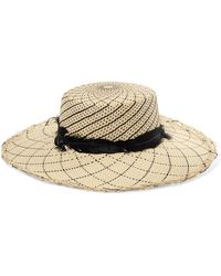 Sensi Studio - Feather-trimmed Toquilla Straw Hat - Lyst