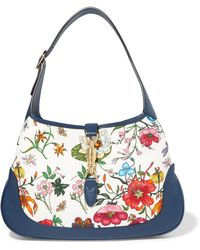 Gucci - Jackie Hobo Medium Floral-print Canvas And Textured-leather Shoulder Bag - Lyst