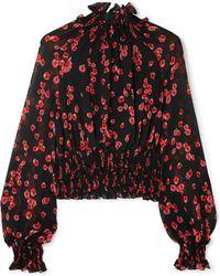 Giambattista Valli - Ruffled Floral-print Silk-crepe Top - Lyst