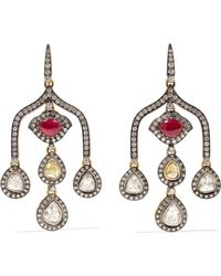 Amrapali - 18-karat Gold, Sterling Silver, Diamond And Ruby Earrings Gold One Size - Lyst