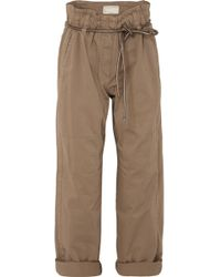 Brunello Cucinelli - Cropped Stretch Cotton-blend Trousers - Lyst