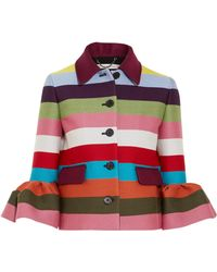 Mary Katrantzou - Cuckoo Cropped Striped Wool-blend Twill Jacket - Lyst