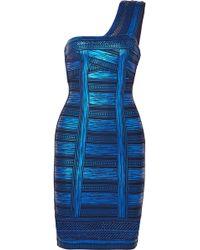 Hervé Léger - One-shoulder Metallic Printed Stretch-knit Mini Dress - Lyst