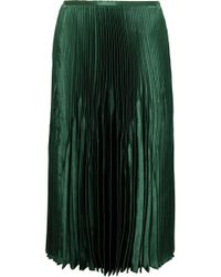 Vince - Pleated Satin Midi Skirt - Lyst