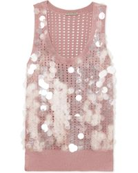 Bottega Veneta - Paillette-embellished Open-knit Silk Tank - Lyst