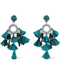 Ranjana Khan - Sandy-t Silver-tone, Satin And Crystal Clip Earrings - Lyst