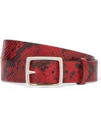 Rag & Bone - Boyfriend Snake-effect Leather Belt - Lyst