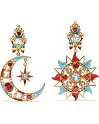 Percossi Papi - Gold-plated And Enamel Multi-stone Clip Earrings - Lyst
