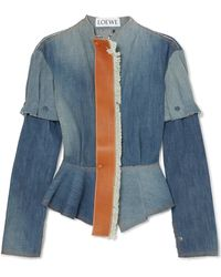 Loewe - Leather-trimmed Denim Peplum Jacket - Lyst