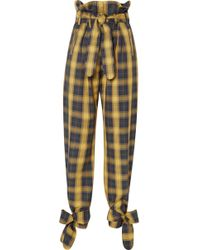 Attico - Tie-detailed Belted Checked Cotton-twill Straight-leg Pants - Lyst