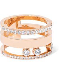 Messika - Move Romane Large 18-karat Rose Gold Diamond Ring - Lyst