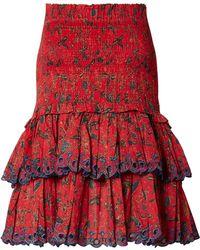Étoile Isabel Marant - Naomi Shirred Embroidered Cotton Mini Skirt - Lyst