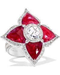 Amrapali - 18-karat White Gold, Ruby And Diamond Ring - Lyst