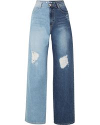 SJYP - Two-tone Distressed High-rise Wide-leg Jeans - Lyst