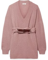 Brunello Cucinelli - Belted Ribbed Cashmere Sweater - Lyst