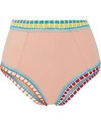 KIINI - Luna Crochet-trimmed High-rise Bikini Briefs - Lyst