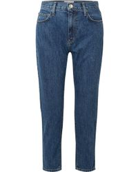 Current/Elliott - Cropped High-rise Slim-leg Jeans - Lyst