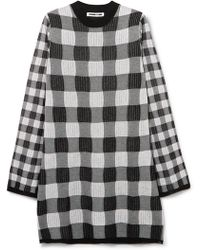 McQ - Checked Knitted Mini Dress - Lyst
