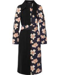 JOSEPH - Nina Floral-print Cotton-twill And Wool-felt Coat - Lyst