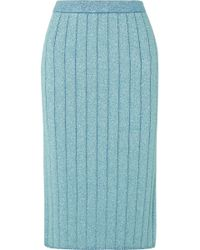 Marc Jacobs - Ribbed Lurex Midi Skirt - Lyst