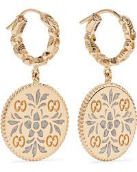 Gucci - Icon 18-karat Gold And Enamel Earrings - Lyst