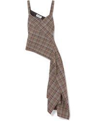Monse - Asymmetric Draped Checked Wool-blend Top - Lyst