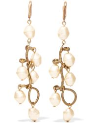 Marni - Burnished Gold-tone Faux Pearl Earrings - Lyst