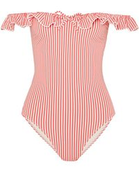 Solid & Striped - The Amelia Off-the-shoulder Ruffle-trimmed Seersucker Swimsuit - Lyst
