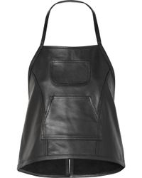 Sandy Liang - Congee Buckled Backless Leather Top - Lyst