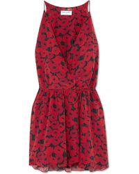 Saint Laurent - Floral-print Silk Wrap Mini Dress - Lyst