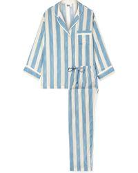 Sleepy Jones - Marina Gestreifter Pyjama Aus Einer Baumwollmischung - Lyst