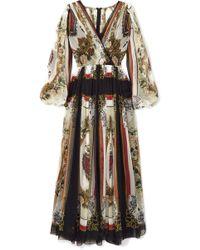 Dolce & Gabbana - Wrap-effect Printed Silk-chiffon Maxi Dress - Lyst