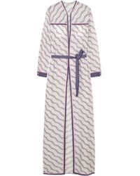Talitha - Printed Silk And Cotton-blend Robe - Lyst