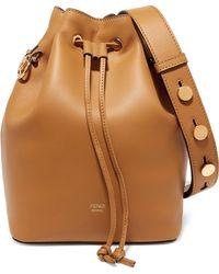 71944abeba34 Fendi Mon Trésor Small Embossed Leather Bucket Bag - Lyst