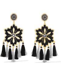 Mercedes Salazar - Hibiscus Tasselled Gold-tone Clip Earrings - Lyst