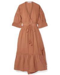 Apiece Apart - Anichka Wrap-effect Cotton-gauze Midi Dress - Lyst