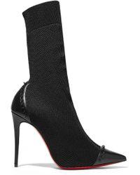 Christian Louboutin - Dovi Dova 100 Studded Leather-trimmed Stretch-knit Sock Boots - Lyst
