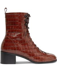 BY FAR - Bota Croc-effect Leather Ankle Boots - Lyst